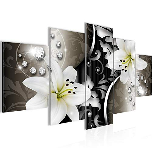 Runa Art - Bilder Blumen Lilien 200 x 100 cm 5 Teilig XXL Wanddekoration Design Braun Schwarz 208051a