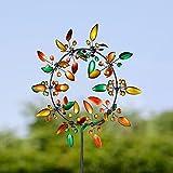 Molino de viento de metal único y mágico, escultura cinética 3D, puede florecer y cerrar, hilanderos de viento de metal cinético con estaca de jardín de metal (colorido-15 pulgadas)
