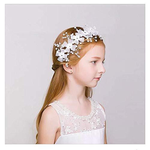 IYOU Princesa Blanca Flor Tocado Cristal Vestido de Cristal