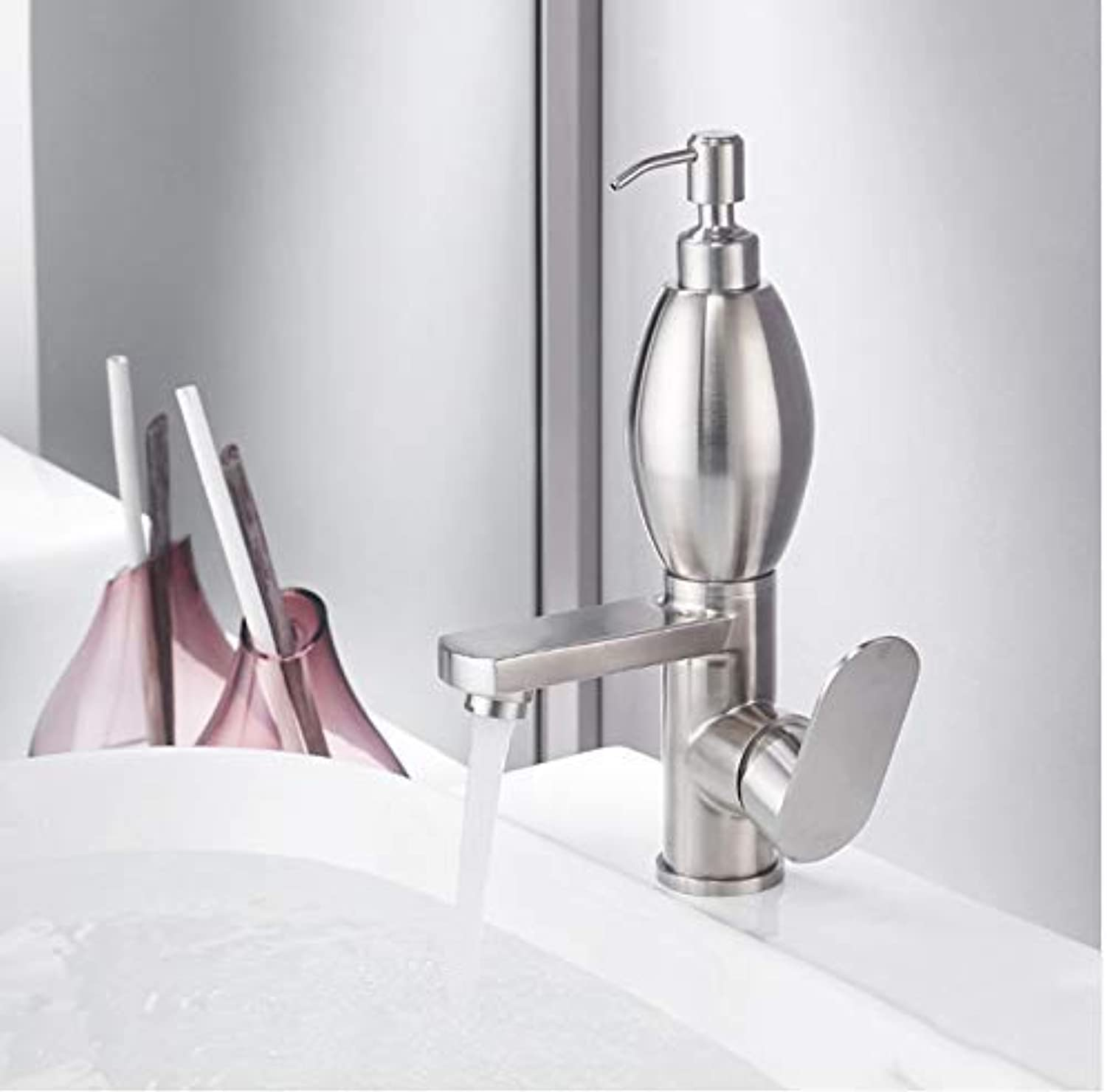Oudan Taps Basin Faucets Stainless Steel 304 Basin Tap With Soap Dispenser New Brushed Nickel Single Hole Faucet Water Mixer Tap Taps (color   -, Size   -)