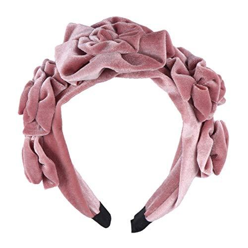 Lurrose Flannelette Fleurs Bandeau Mode Cheveux à Large Bord Cerceau Accessoires pour Cheveux pour Femmes Filles (Rose)