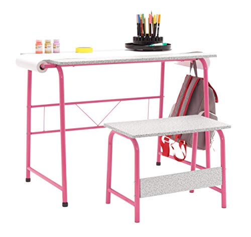 STUDIO DESIGNS INSPIRING CREATIVITY WWW.STUDIODESIGNS.COM Project Center, Kids Craft Table with Bench in Pink/Spatter Gray 55125