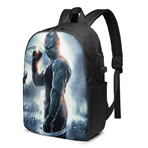 Chronicles of Riddick USB Backpack 17 in Unisex Laptop Backpack Travel,Durable Waterproof with USB Charging Port for School