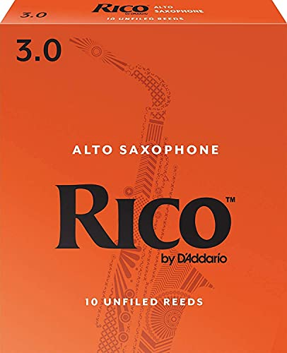 D'Addario Woodwinds Alto Sax Reeds, Strength 3, 10-Pack (RJA1030)