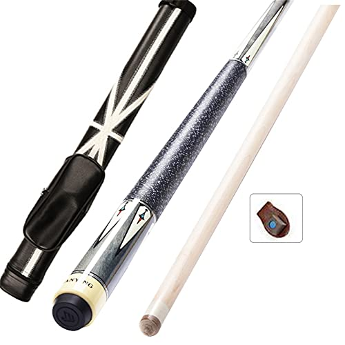 WXS 1/2 Stecche da Biliardo Divisa, Stecca da Biliardo per Adulti Maple 147cm 19 Once, Stecca da Biliardo Stecca Singola,Adatto per Nove Palle Americane(Size:13mm,Color:Cue B con Tubo Flagpole)