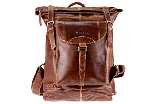 "Rucksack ""MOUNTAINSIDE"" | Echtes Büffel-Leder | Herren Damen Vintage Daypack Kurier Braun | By Alpenleder"