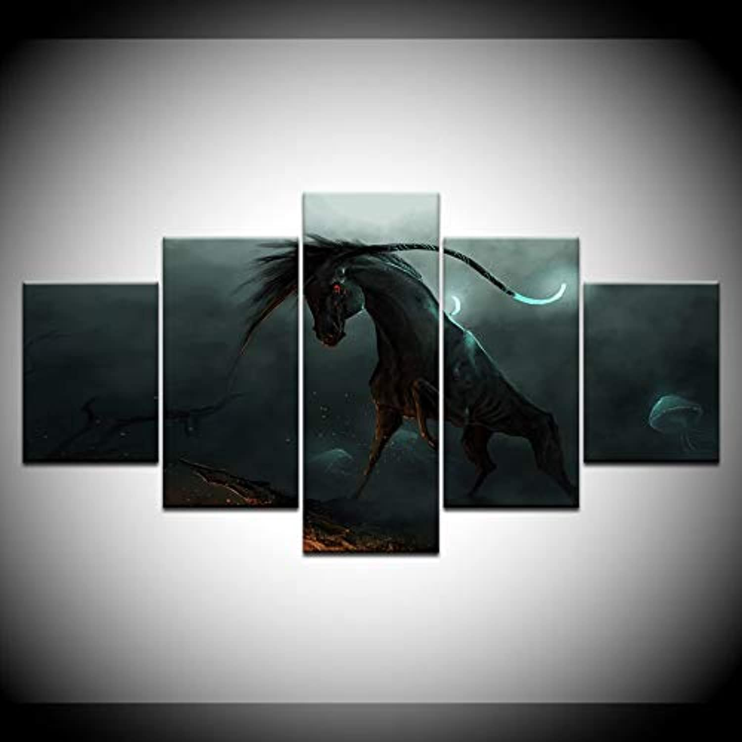 5 Set Dark Gothic Horse Wall Art Paintings Picture Print On Canvas for Living Room Home Decoration Wall Art Picture