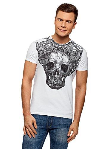 oodji Ultra Herren Baumwoll-T-Shirt mit Totenkopf-Druck, Weiß, M