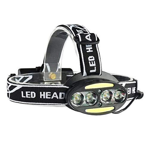 Linterna frontal LED para exterior, alta potencia, impermeable, COB 4T6, recargable, luz roja, luz de advertencia para autodefensa, senderismo