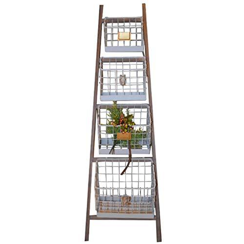 QINGTAOSHOP Racks Retro-Lagerregale alt Multi-Layer-Korbregale Open-Air-Balkon Garten Dekoration Display Rack Multi-Funktions-Regal Vier Schichten (Color : Brown+White, Size : 16.5 * 46 * 152cm)