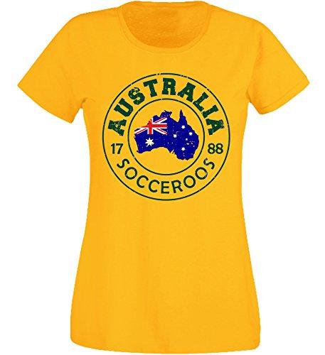 aprom Damen T-Shirt Australien GE 20 Vintage AUS Futbol (S)