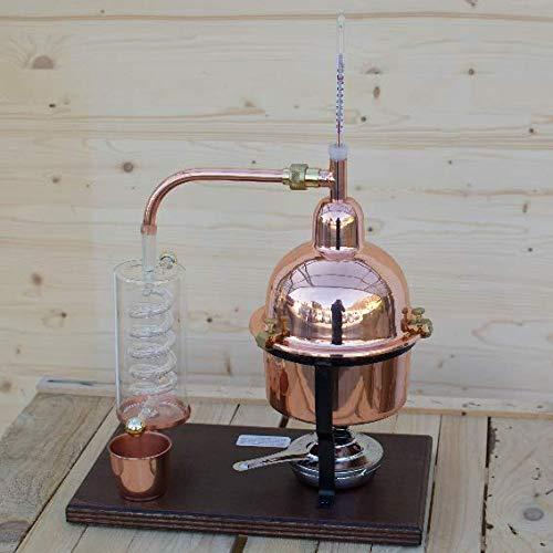Alambicco Distillatore per oli essenziali in rame con serpentina di condensazione in vetro