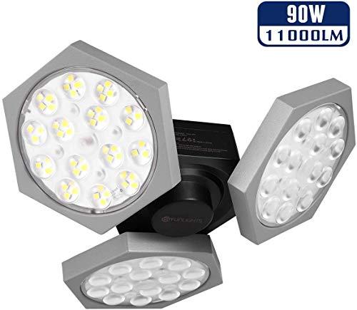 LED-Garagenleuchten, YUNLIGHTS 90W 11000 Lumen Deckenleuchte, verformbare einstellbare Garagenbeleuchtung mit 3 verstellbaren Paneelen CRI 80+ 6500K Tageslicht E26/27 Garagen Deckenleuchte