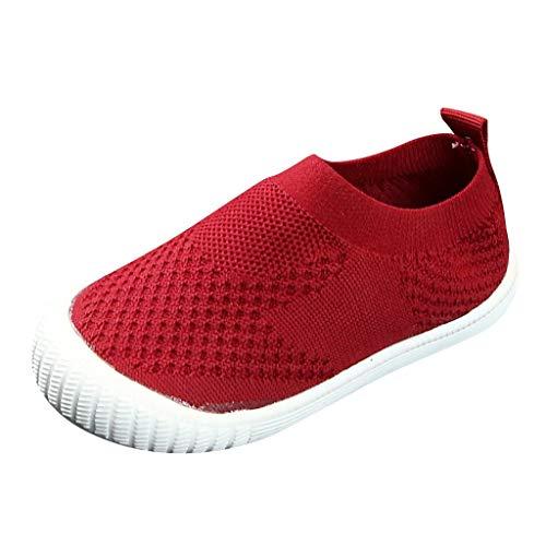 HWTOP Sportschuhe Mädchen Jungen Socken Schuhe Kinder Baby Laufschuhe Einfarbig Flying Woven Mesh Turnschuhe Lässig Atmungsaktiv Sport Run Freizeitschuhe, Red, 28 EU