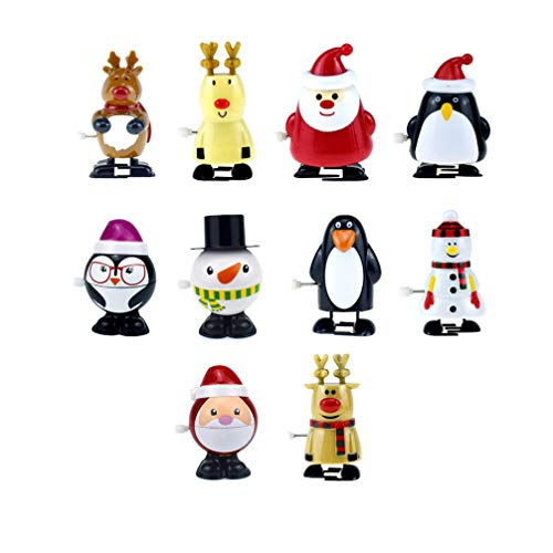 NUOBESTY 10pcs Christmas Wind Up Toys Reindeer Snowman Santa Claus Toys Stocking Stuffers Christmas Party Favors Gifts for Kids