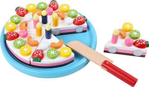 small foot 2400 bunt lackiertem, Früchte und Kerzen sind durch Magnete abnehmbar, ab 3 Jahren Schneide Geburtstagskuchen aus Holz