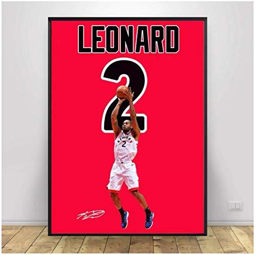 Kawhi Leonard Baloncesto Fan Art Wall Art Canvas Painting Posters Sala de estar Decoración del hogar Decoración de la pared -60x80cm Sin marco