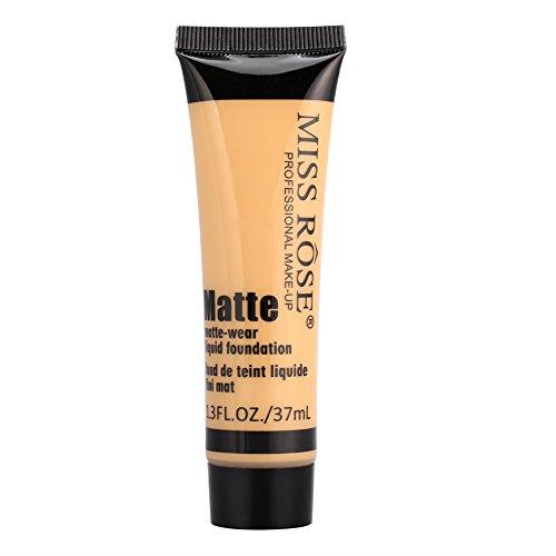 MISS ROSE Smooth Makeup Basis Gesicht Liquid Foundation, Matte Wear Concealer Sonnenschutzcreme, Full Coverage Foundation(#6)