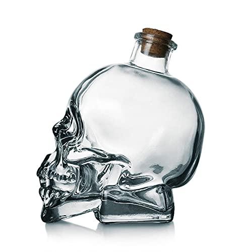 LTINN Botella de Vino de Cabeza de Calavera de 120/200/400/750 ml, Copa de Vino de Whisky de Cristal de Calavera, Juego de Copa de Vino Tinto, decantador Creativo