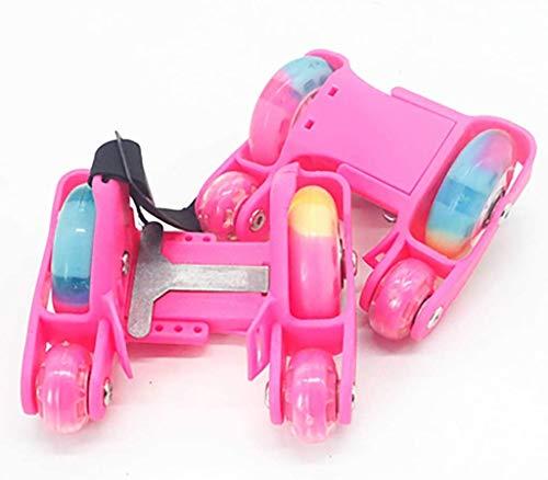 Candy Colors Fersen Rollschuhe Skates Klingen Schuhe, Ultra Quiet 4 Wheels Whirlwind Pulley Roller, Verstellbare Street Rollers Clip On Skates Easy-On,Pink