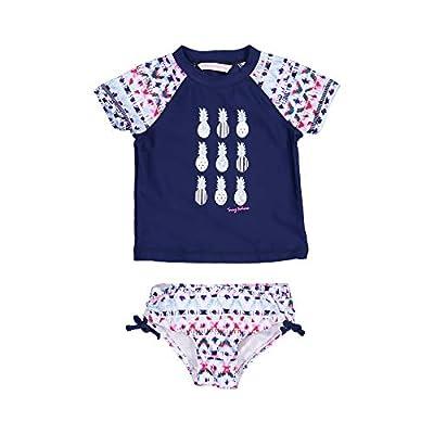 Tommy Bahama Little Girls' 2-Piece Shirt and Bikini Bottom Swim Set, Fuchsia Navy Multi Pineapple, 6