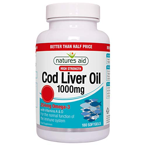 Natures Aid 1000mg High Strength Cod Liver Oil - Pack of180 Capsules