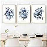 Pintura de arte de pared de acuarela Boho Dahlia flor lienzo arte carteles impresiones azul marino cuadros de pared casa de campo dormitorio decoración del hogar sin marco