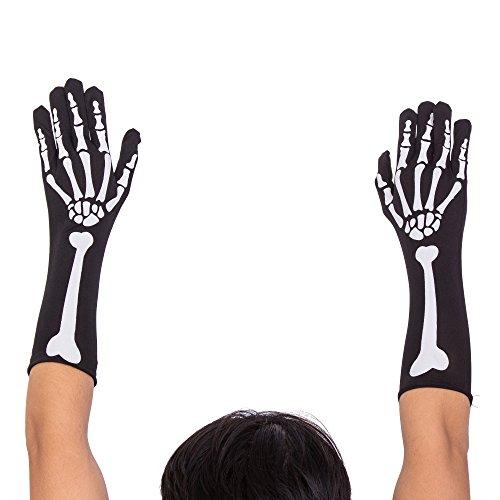 BFD Unisex Skelett Knochen Handschuhe Corpse Braut Gothic Rock Halloween Verkleidung Einheitsgröße Skelett Knochen Handschuhe 1 Paar
