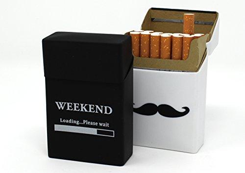 2X Zigarettenbox aus Silikon - Weekend und Schnurrbart weiß - Zigarettenhülle - Zigarettenetui - passend für eine Zigarettenschachtel in Standardgröße - auch passend für die neuen 21er Schachteln