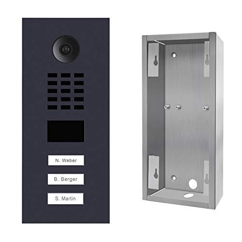 Doorbird D2103V-RAL7016 + SUP-D2102V-D2103V - Portero de vídeo IP 3 timbres + Soporte, Color Negro