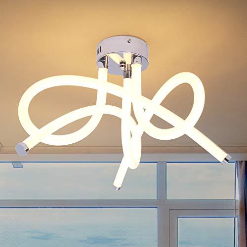 ALLOMN Lámpara de Techo LED, 55W Lámpara de Araña Lámpara de Techo de Diseño Curvo Moderno con 3 Luces Curvas para Sala de Estar Dormitorio Comedor (Blanco Cálido 55W)