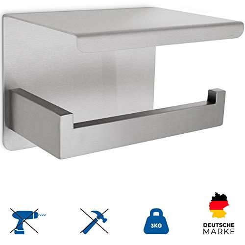 Perfectosan | Toilettenpapierhalter ohne Bohren | Superior-Collection | Handyablage | Klopapierhalter zum Kleben | (Edelstahl gebürstet)