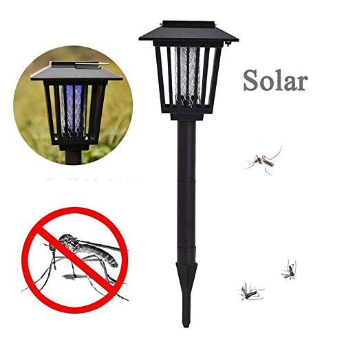 Naiflowers Garden Solar Power Mosquito Light, Zapper Bug Killer Killing Lamp Wireless Outdoor USB Electronic Led Best Stinger Mosquitoes Moth Fly for Backyard Patio Camping,Fishing or Hik