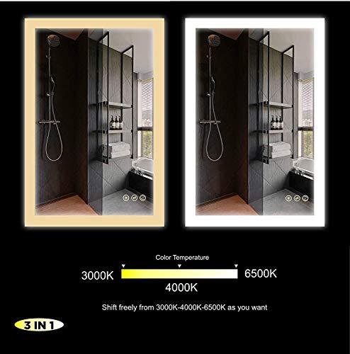 Dimmbar 50x70cm Badspiegel LED Spiegel mit Beleuchtung Touch-Schalter + Antibeschlag Spiegelheizung + CRI> 90+ vertikale und horizontale Installation, Warmweiß+Neutralweiß+Kaltweiß