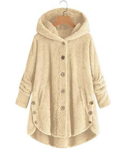 VONDA Abrigo de forro polar para mujer con capucha cómoda y larga chaqueta de oso de peluche