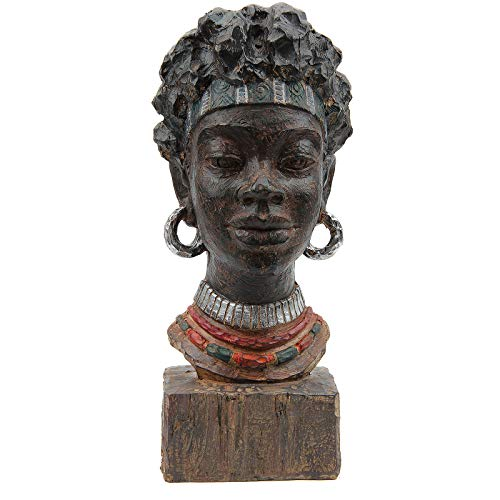 Leekung African Statues and Sculptures for Home Decor,African Figurines Head Statue Decorations for Home,African Art Sculptures Woman Statue Decor for Living Room Antique Woodstone Color