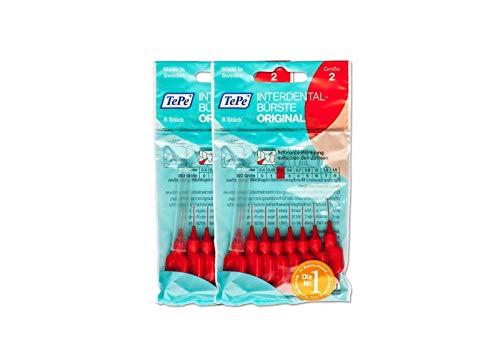 2x TePe Interdentalbürsten ROT Original 8 Stück Zahnzwischenraumbürste ISO2 0,5mm