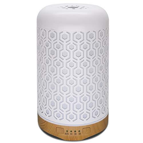 Difusor de Aceite Esencial de aromaterapia,humidificador silencioso con protección de Apagado automático sin Agua LED Cambiado de 7 Colores para SPA,Oficina Y casa (Cuadros,250ml)