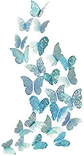 3D Teal Blue Butterfly Wall Sticker Butterflies Decal Emerald Wedding Table Decoration Metallic Paper Stickers for Home Gi...