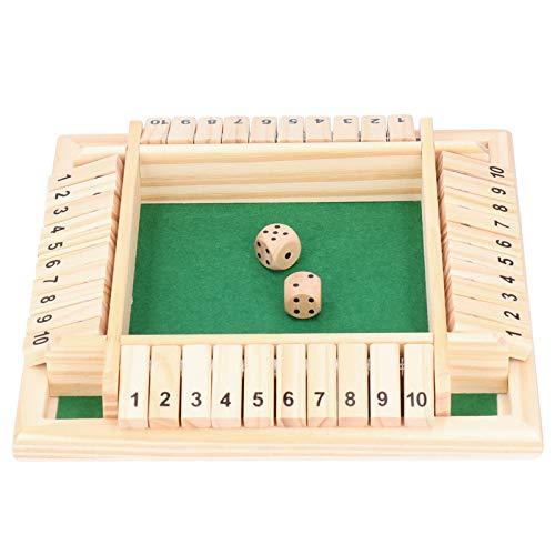 4 Jugadores Cierra la Caja, Juego de Dados de Tablero de números de Madera para KTV Pub Bar Party Supplies Prop(Verde)