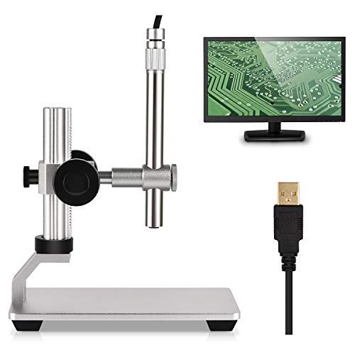 USB Digital Microscope Camera, 500X Magnification Zoom,1600 ×1200 Handheld Microscope HD Inspection Endoscope with 8 LED Lights, CMOS Sensor, Metal Stand for Windows Mac Linux Chrome