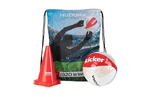 HUDORA Fußball-Set Kicker Edition Stadium Pylonen Sport Tasche Training
