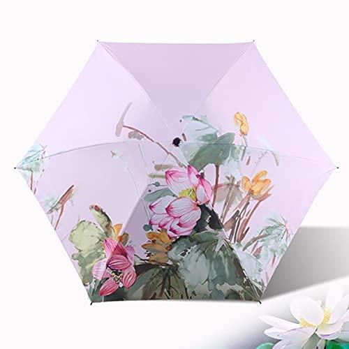 DJMJHG Big Lotus Flowers Pattern Pencil Umbrella 3-plegable paraguas para las mujeres de la muchacha Anti-uv Super Light Umbrella YD200325PK