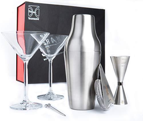 The Elan Colletive Shake it Up Cocktail Set mit französischem Shaker, Barsieb, Barmass sowie Zwei Martini Gläsern