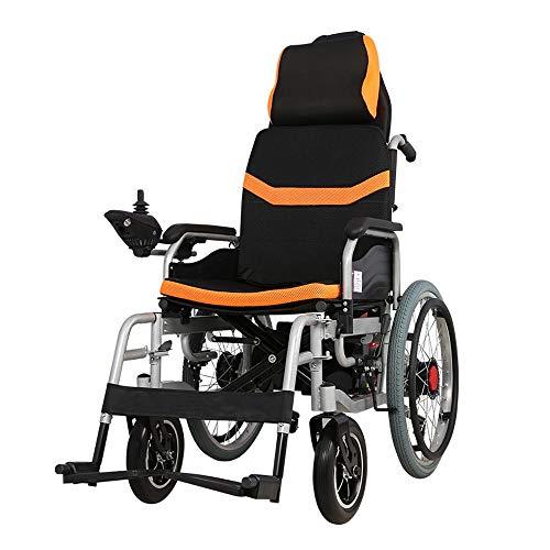 Portable Powerchair met hoofdsteun, lichtgewicht rolstoelen Folding Up Electric, zitbreedte 45cm, 360 ° Joystick, 250w 24v 12A Li-ion batterij, for gehandicapte ouderen (Color : A)