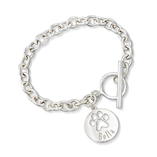 Ross-Simons Sterling Silver Personalized Paw Print Bracelet