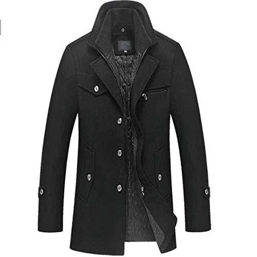 HNOSD Wintermantel aus Wolle, Slim Fit Jacken, Männer, Casual Mantel, Trainingsanzug, Jacke und Mantel für Männer, Pea Coat Gr. X-Large, Schwarz