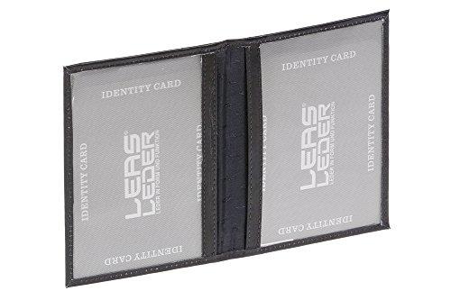 LEAS ID-kaartmap- & -hoes met 2 kijkvensters echt leer, blauw Card-Collection