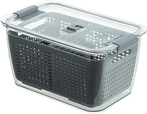 Organizador de almacenamiento de drenaje de refrigerador 3 en 1Caja de almacenamiento multifuncional Caja de mantenimiento fresco Lavar frutas