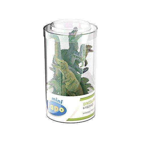 Papo- Mini Plus Dinosaures Lot 1 (Tube, 6 pcs) Figurines, 33018, Multicolore